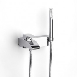 Roca Thesis Wall-mounted bath-shower mixer with automatic diverter with retention, 1.70 m flexible shower hose, handshower