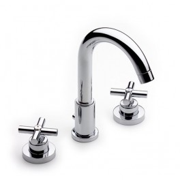 Roca Loft Basin mixer with central swivel spout and pop-up waste