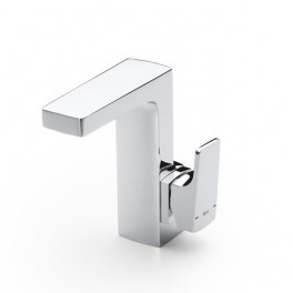 Roca L90 Basin mixer, integrated lateral handle, with pop-up waste, Cold Start