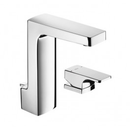 Roca L90 Basin mixer, deck-mounted lateral handle, with pop-up waste