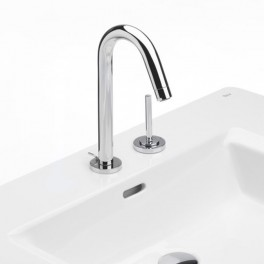 Roca Singles Basin mixer with aerator, pop-up waste and flexible supply hoses, joystick operated