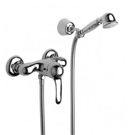 Roca Modena Wall-mounted shower mixer with 1.50 m flexible shower hose, handshower and swivel wall bracket