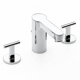 Roca Moai Basin mixer with central spout, with pop-up waste