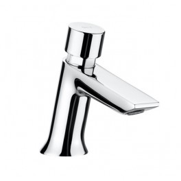 Roca Instant Self-closing deck-mounted basin mixer with push-button