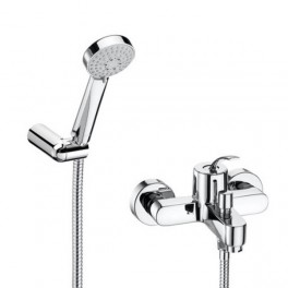 Roca Moai Wall-mounted bath-shower mixer with automatic diverter, handshower 1,70 m flexible hose and swivel wall bracket