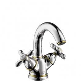 Axor Carlton 2-handle basin mixer with cross head handles for standard basins with swivel spout and waste set