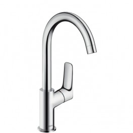 Hansgrohe Logis Single lever basin mixer 210 with swivel spout with 120° range and pop-up waste set