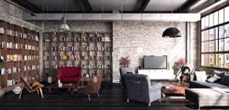 Salón loft-industrial